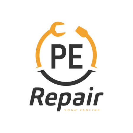 PE Letter Design with Repairing Logo. Modern Letter Logo Design in Repair icon
