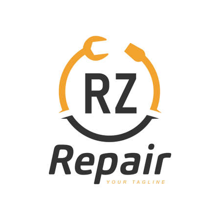 RZ Letter Design with Repairing Logo. Modern Letter Logo Design in Repair icon Logó