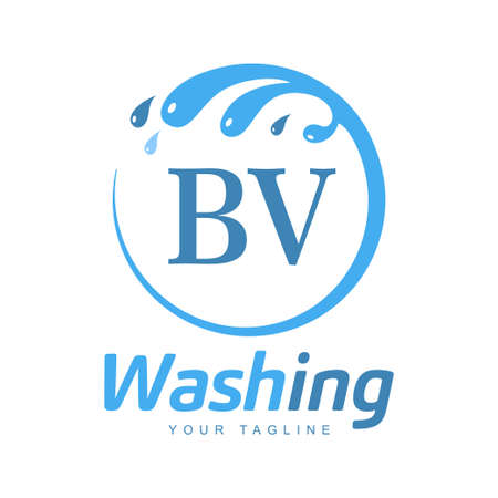 BV Letter Design with Wash Logo. Modern Letter Logo Design in Water Wave icon