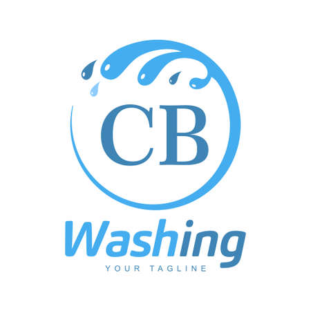 CB Letter Design with Wash Logo. Modern Letter Logo Design in Water Wave icon