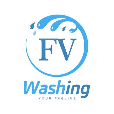 FV Letter Design with Wash Logo. Modern Letter Logo Design in Water Wave icon