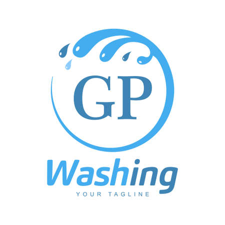 GP Letter Design with Wash Logo. Modern Letter Logo Design in Water Wave icon