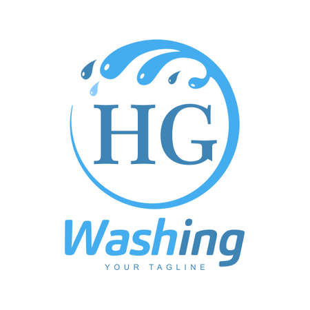 HG Letter Design with Wash Logo. Modern Letter Logo Design in Water Wave icon