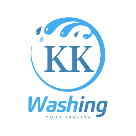 KK Letter Design with Wash Logo. Modern Letter Logo Design in Water Wave icon
