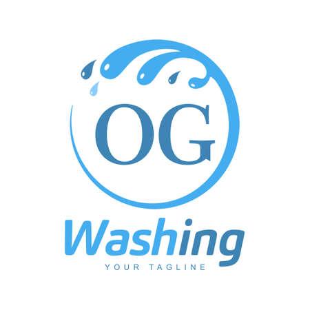 OG Letter Design with Wash Logo. Modern Letter Logo Design in Water Wave icon