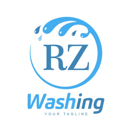 RZ Letter Design with Wash Logo. Modern Letter Logo Design in Water Wave icon
