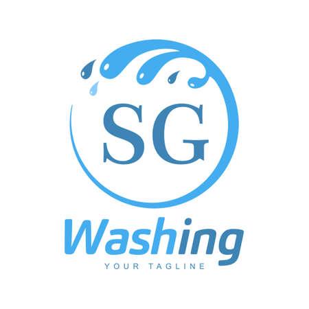 SG Letter Design with Wash Logo. Modern Letter Logo Design in Water Wave icon Logó