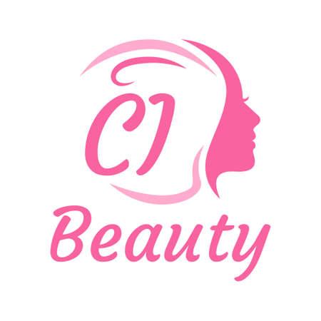 CI Letter Logo Design with Female Face. Elegant beauty logo concept Illusztráció