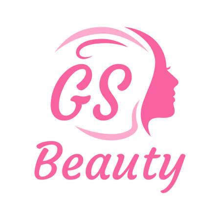 GS Letter Logo Design with Female Face. Elegant beauty logo concept