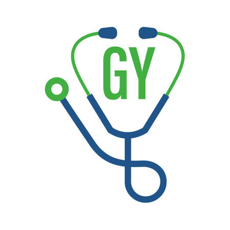 GY Letter Logo Design with Stethoscope Icon. Modern Health Logo Concept