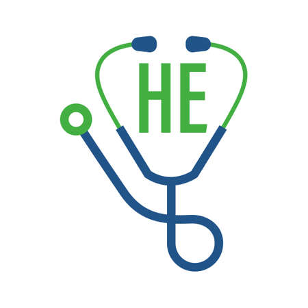 HE Letter Logo Design with Stethoscope Icon. Modern Health Logo Concept