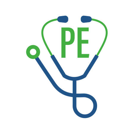 PE Letter Logo Design with Stethoscope Icon. Modern Health Logo Concept