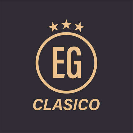 EG Letter Logo Design with Star Icon. Classic Logo Concept with Circle and Star