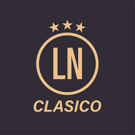 LN Letter Logo Design with Star Icon. Classic Logo Concept with Circle and Star