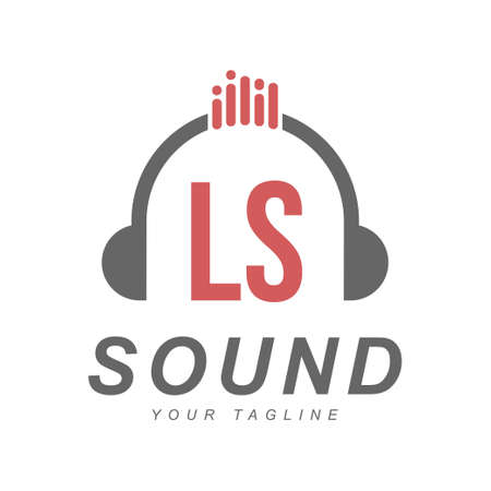 LS Letter Logo Design with Head Phone Icon. The Concept of a Modern Music Logo