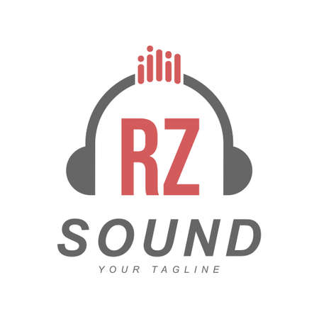 RZ Letter Logo Design with Head Phone Icon. The Concept of a Modern Music Logo Logó