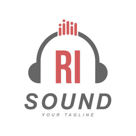 RI Letter Logo Design with Head Phone Icon. The Concept of a Modern Music Logo