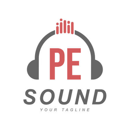PE Letter Logo Design with Head Phone Icon. The Concept of a Modern Music Logo