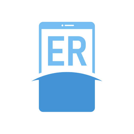 ER Letter Logo Design with Smart Phone Icons. Modern Mobile Phone Logo Concept Logó