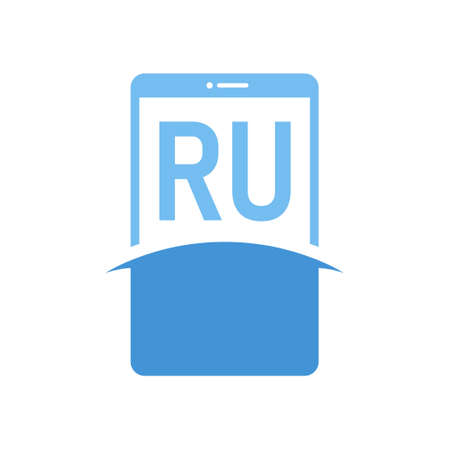 RU Letter Logo Design with Smart Phone Icons. Modern Mobile Phone Logo Concept
