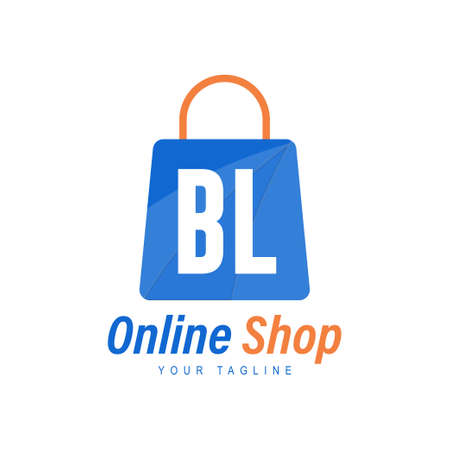 BL Letter Logo Design with Shopping Bag Icon. The concept of a modern online shopping logo
