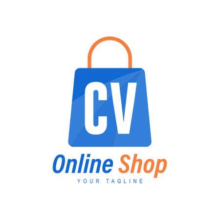 CV Letter Logo Design with Shopping Bag Icon. The concept of a modern online shopping logo