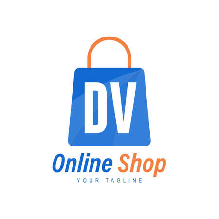 DV Letter Logo Design with Shopping Bag Icon. The concept of a modern online shopping logo