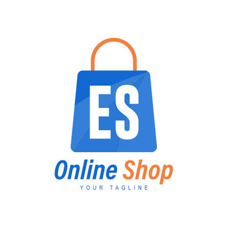 ES Letter Logo Design with Shopping Bag Icon. The concept of a modern online shopping logo Logó