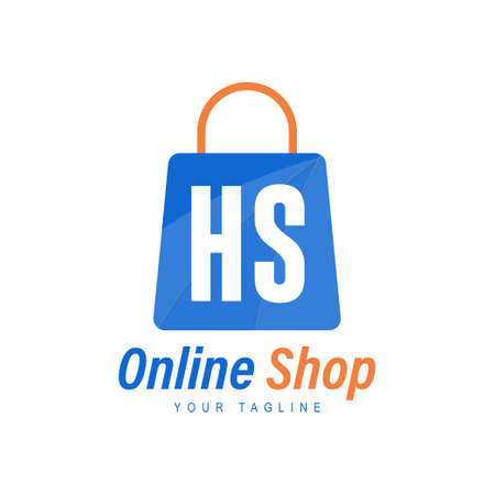 HS Letter Logo Design with Shopping Bag Icon. The concept of a modern online shopping logo