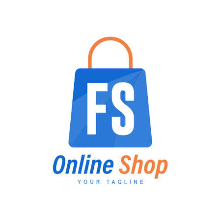 FS Letter Logo Design with Shopping Bag Icon. The concept of a modern online shopping logo