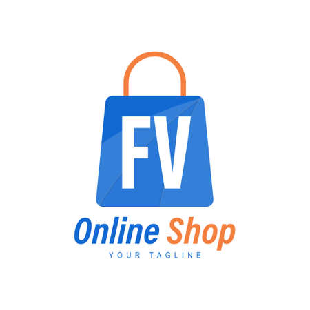 FV Letter Logo Design with Shopping Bag Icon. The concept of a modern online shopping logo