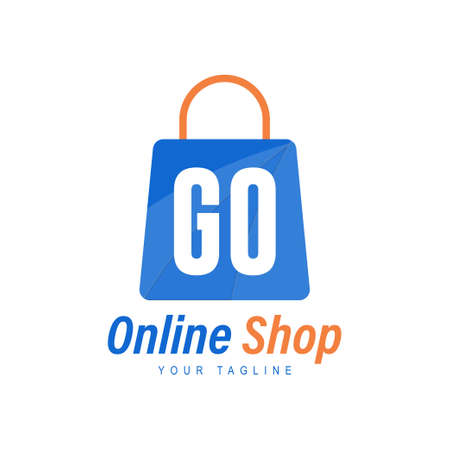GO Letter Logo Design with Shopping Bag Icon. The concept of a modern online shopping logo