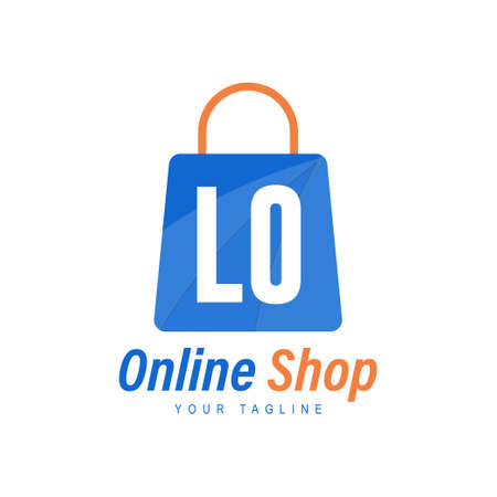 LO Letter Logo Design with Shopping Bag Icon. The concept of a modern online shopping logo Ilustração