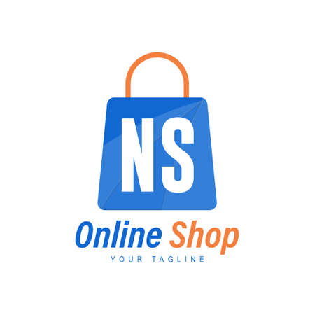 NS Letter Logo Design with Shopping Bag Icon. The concept of a modern online shopping logo
