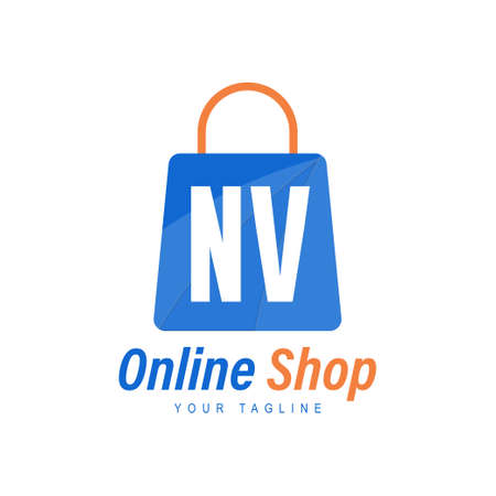NV Letter Logo Design with Shopping Bag Icon. The concept of a modern online shopping logo