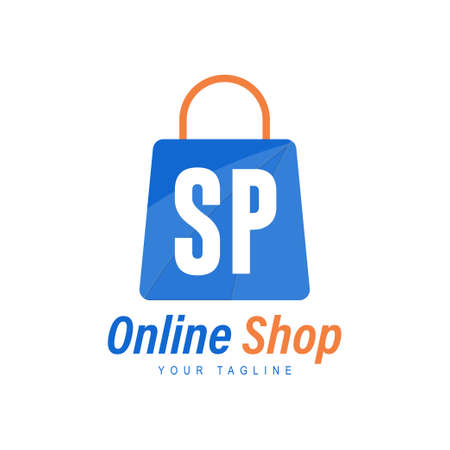SP Letter Logo Design with Shopping Bag Icon. The concept of a modern online shopping logo Logó