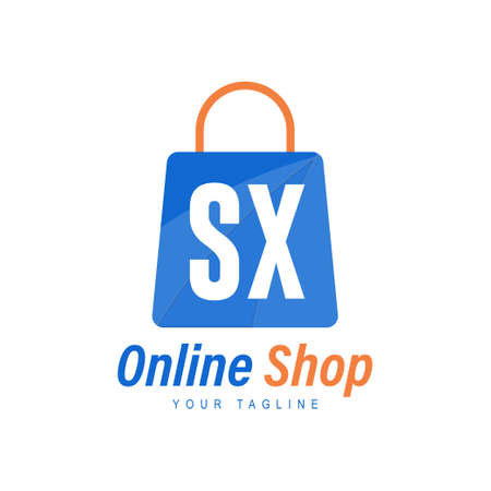 SX Letter Logo Design with Shopping Bag Icon. The concept of a modern online shopping logo Logó