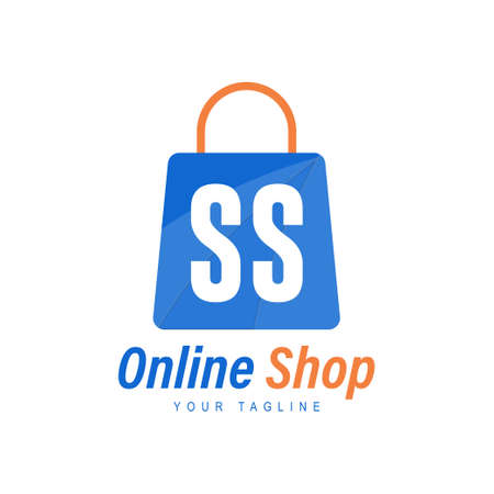 SS Letter Logo Design with Shopping Bag Icon. The concept of a modern online shopping logo