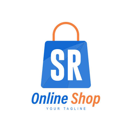 SR Letter Logo Design with Shopping Bag Icon. The concept of a modern online shopping logo