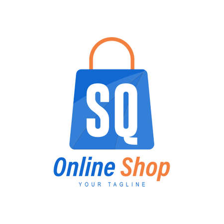 SQ Letter Logo Design with Shopping Bag Icon. The concept of a modern online shopping logo Logó