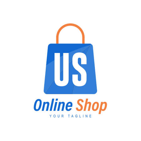US Letter Logo Design with Shopping Bag Icon. The concept of a modern online shopping logo