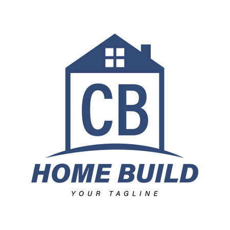 CB Letter Logo Design with Home Icons, Modern Housing or Building Logo Concepts