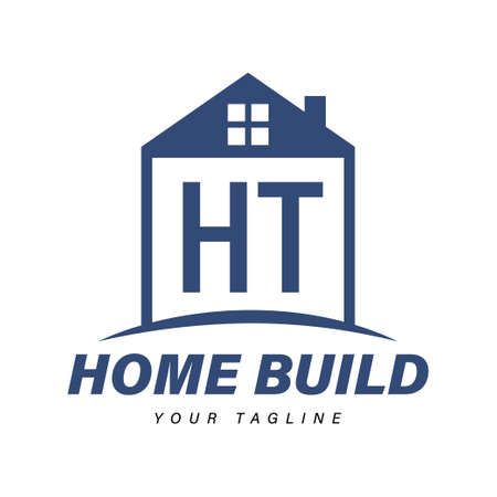 HT Letter Logo Design with Home Icons, Modern Housing or Building Logo Concepts