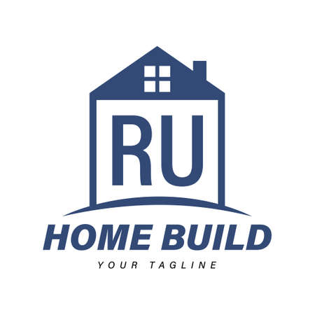 RU Letter Logo Design with Home Icons, Modern Housing or Building Logo Concepts