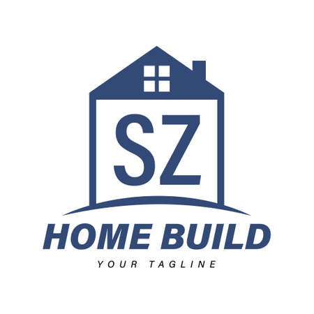 SZ Letter Logo Design with Home Icons, Modern Housing or Building Logo Concepts