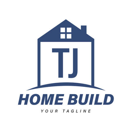 TJ Letter Logo Design with Home Icons, Modern Housing or Building Logo Concepts Logó