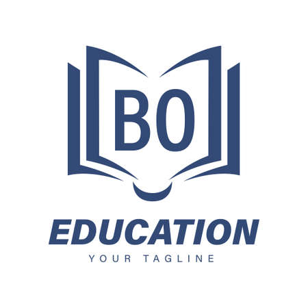 BO Letter Logo Design with Book Icons, Modern Education Logo Concept