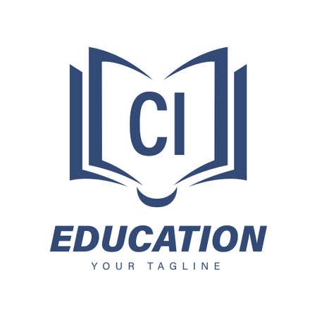 CI Letter Logo Design with Book Icons, Modern Education Logo Concept Illusztráció