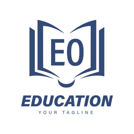EO Letter Logo Design with Book Icons, Modern Education Logo Concept