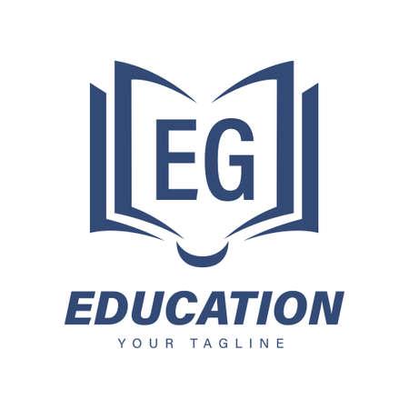EG Letter Logo Design with Book Icons, Modern Education Logo Concept